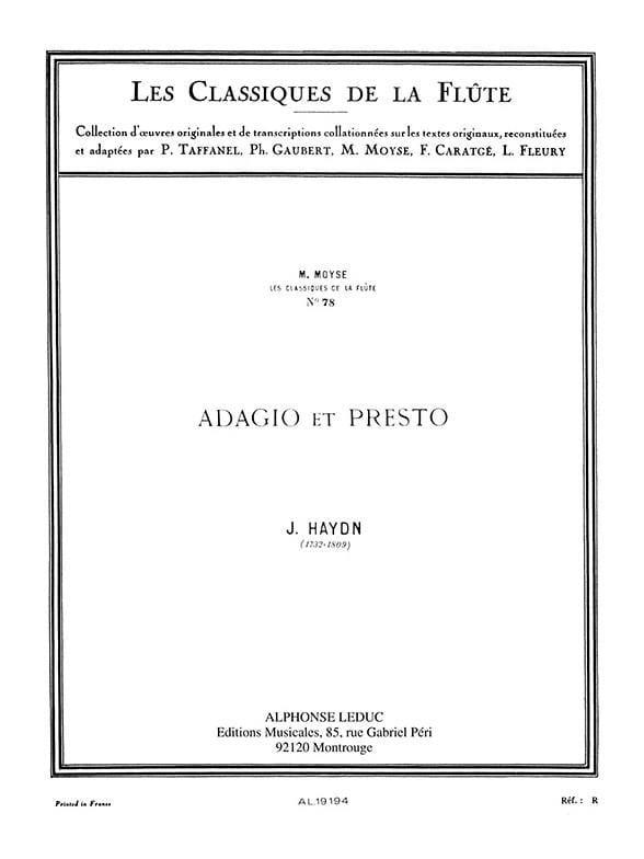 Adagio et Presto - Flûte - HAYDN - Partition - laflutedepan.com