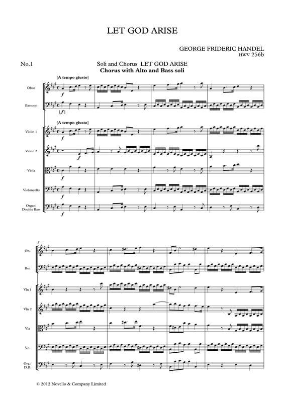 Let God Arise HWV256b Chapel Royal Version - Parts - laflutedepan.com