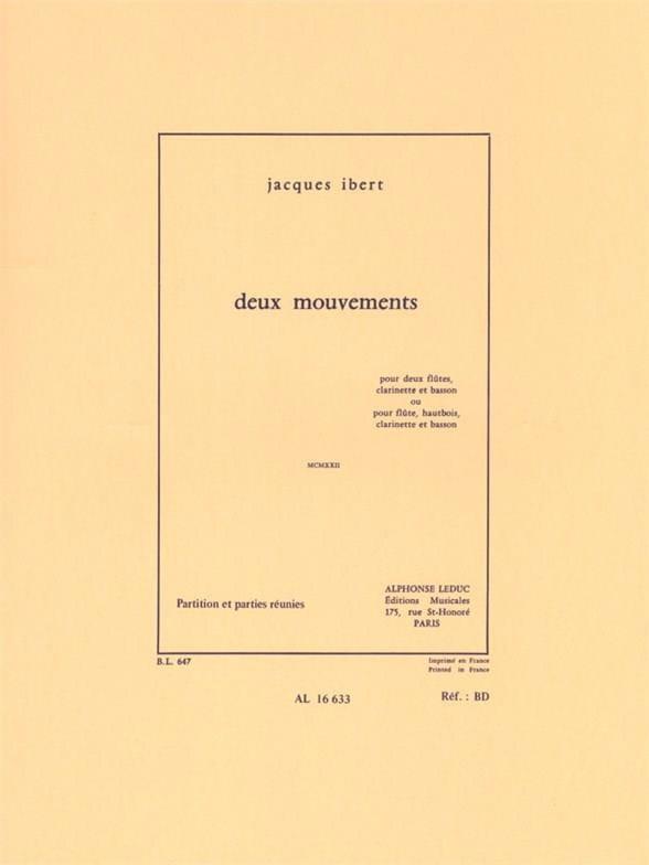 Jacques Ibert - 2 Movements - 2 Flutes-Clarinet-Bassoon - Partition - di-arezzo.com