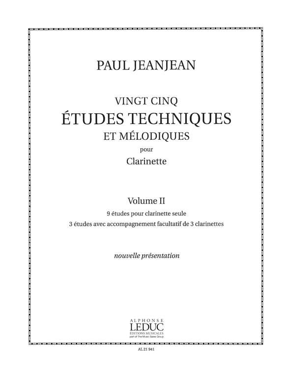 Paul Jeanjean - 25 Technical Studies - Volume 2 - Partition - di-arezzo.com