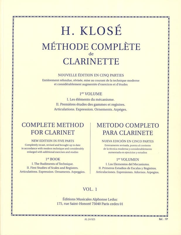 Hyacinthe Klosé - Complete Method of Clarinet Volume 1 - Partition - di-arezzo.co.uk