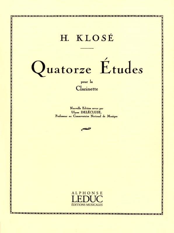 Hyacinthe Klosé - 14 Etudes - Clarinet - Partition - di-arezzo.co.uk