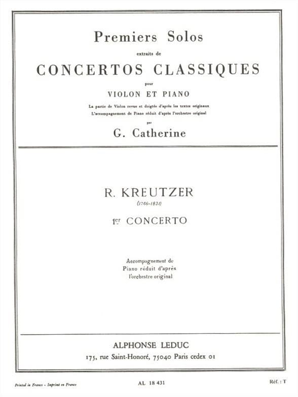 Kreutzer Rodolphe / Catherine Georges - 1st solo of the Concerto n ° 1 Catherine - Partition - di-arezzo.co.uk
