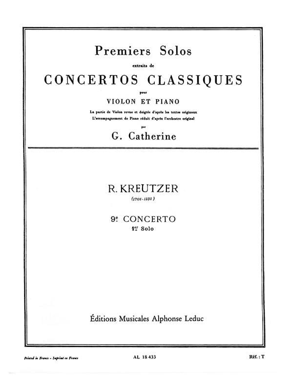 Kreutzer Rodolphe / Catherine Georges - 1st solo of Concerto n ° 9 Catherine - Partition - di-arezzo.co.uk