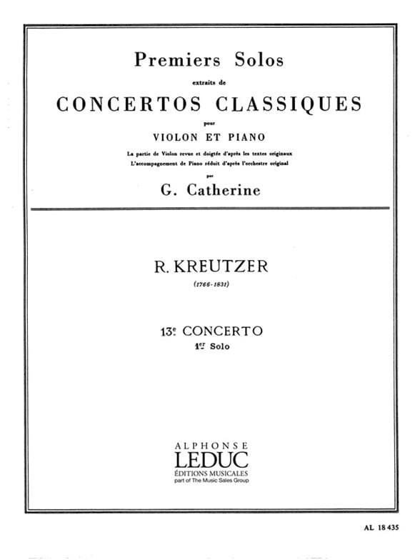 Kreutzer Rodolphe / Catherine Georges - 1st Solo of the Concerto n ° 13 Catherine - Partition - di-arezzo.co.uk