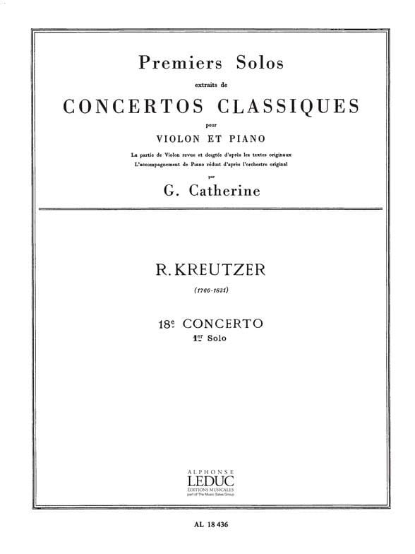 Kreutzer Rodolphe / Catherine Georges - 1st solo of the Concerto n ° 18 Catherine - Partition - di-arezzo.co.uk