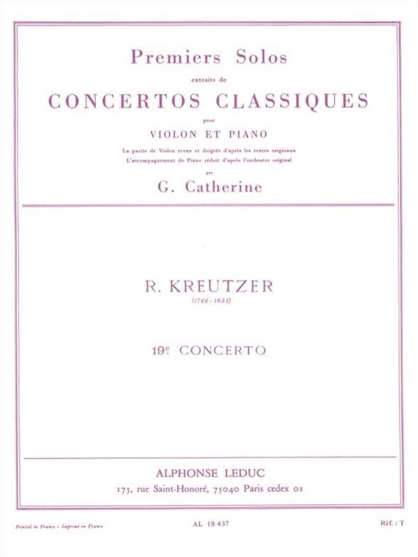 Kreutzer Rodolphe / Catherine Georges - 1st solo of Concerto n ° 19 Catherine - Partition - di-arezzo.co.uk