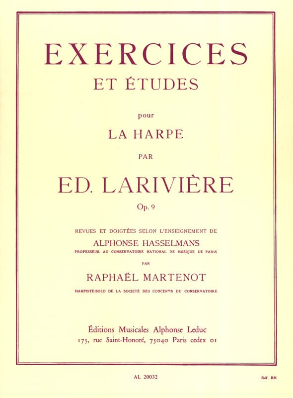 Ed. Larivière - Exercises and Studies op. 9 for harp - Partition - di-arezzo.co.uk