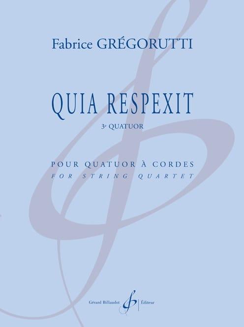 Fabrice Grégorutti - Quia Respexit - Partition - di-arezzo.fr