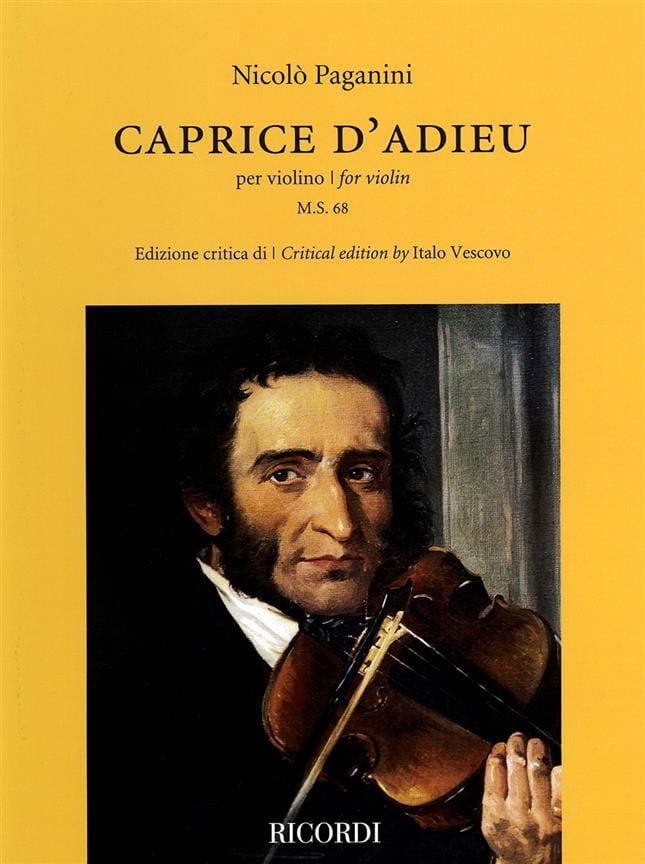 Niccolò Paganini - Caprice d'Adieu - Violin - Partition - di-arezzo.co.uk