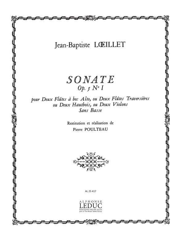 Sonate op. 5 n° 1 - LOEILLET - Partition - laflutedepan.com