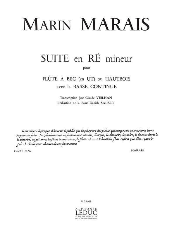 Marin Marais - Suite in D minor - Recorder and Bc - Partition - di-arezzo.co.uk