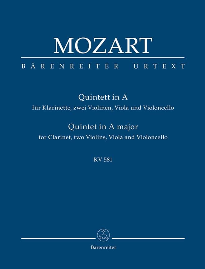 MOZART - Quintett for Klarinette, 2 Violinen, Viola Und Violoncello. Urtext. - Partition - di-arezzo.co.uk
