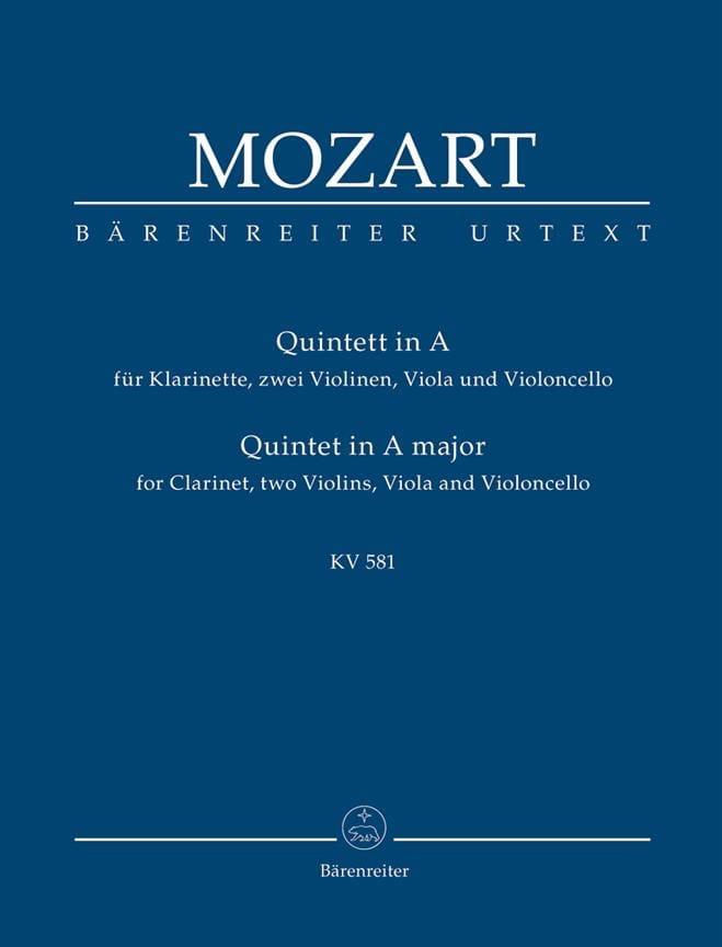 MOZART - Quintett für Klarinette, 2 Violinen, Viola Und Violoncello. Urtext. - Partition - di-arezzo.fr