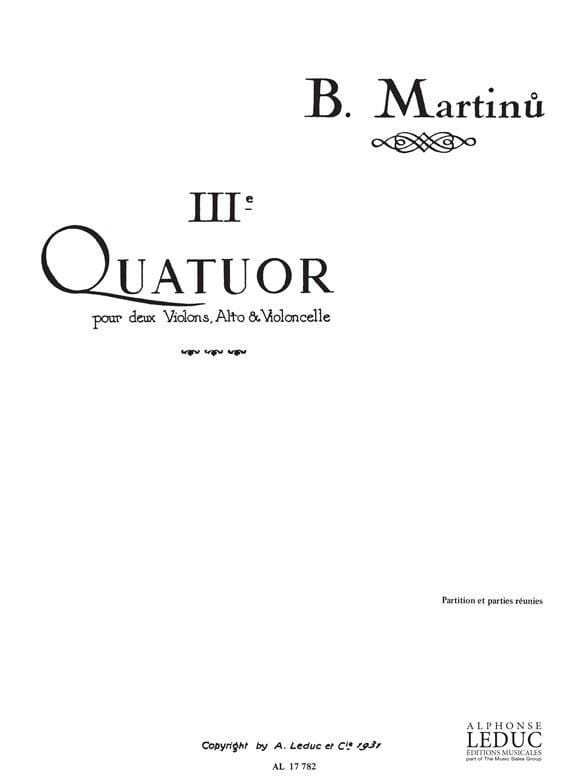 Bohuslav Martinu - String Quartet No. 3 - Partition Parts - Partition - di-arezzo.com