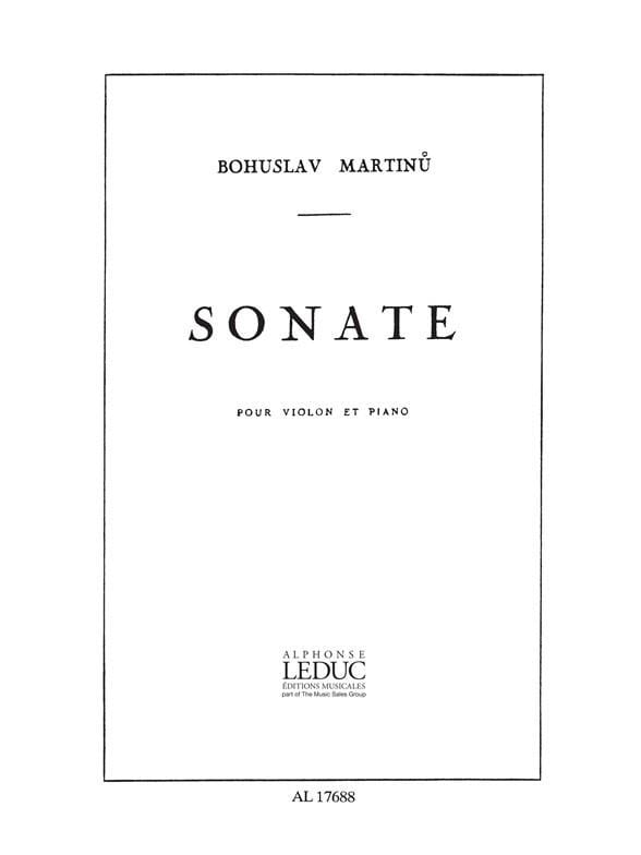Bohuslav Martinu - Sonate - Violin - Partition - di-arezzo.co.uk
