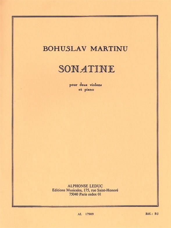 Sonatine pour 2 violons et piano - MARTINU - laflutedepan.com