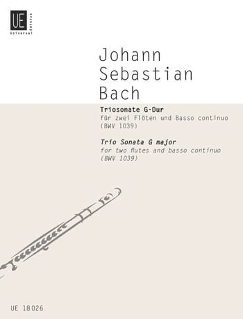 BACH - G-Dur Triosonate BWV 1039 - 2 Flöten Bc - Partition - di-arezzo.com