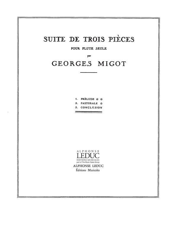 Suite de 3 Pièces - Flûte seule - Georges Migot - laflutedepan.com