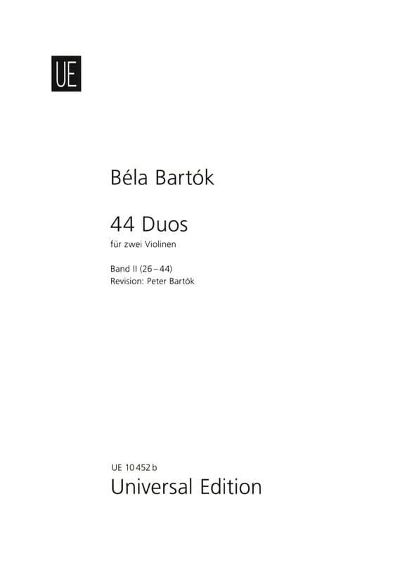 BARTOK - 44 Duos Volume 2 - 26-44 - Partition - di-arezzo.co.uk