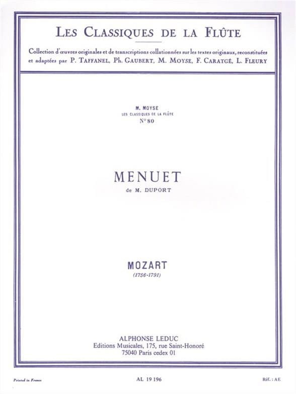 MOZART - M. Duport's Menuet - Piano Flute - Partition - di-arezzo.co.uk