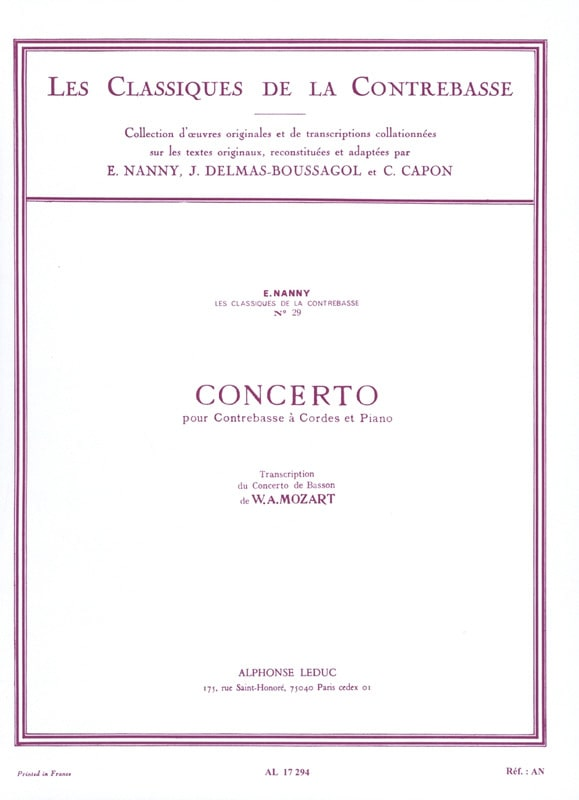 MOZART - Bass Concerto Transcribed from Bassoon - Partition - di-arezzo.co.uk