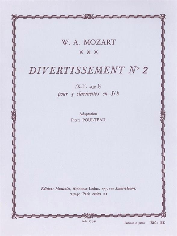 MOZART - Entertainment n ° 2 KV 439b - 3 Clarinets - Partition - di-arezzo.co.uk