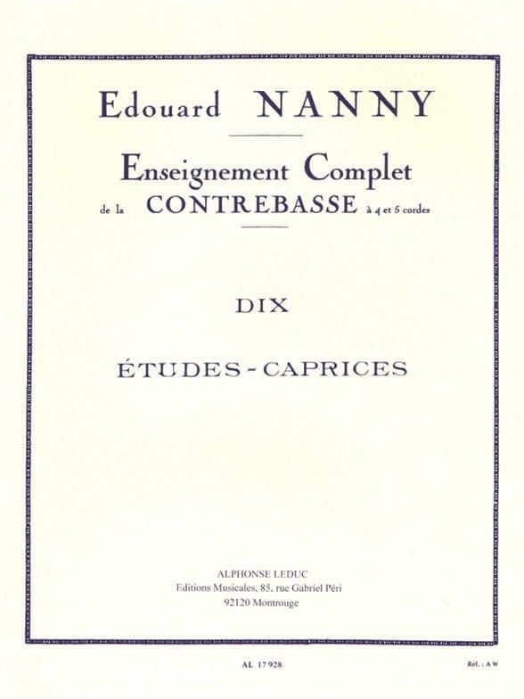 Edouard Nanny - 10 Studies-Caprices - Double Bass - Partition - di-arezzo.co.uk