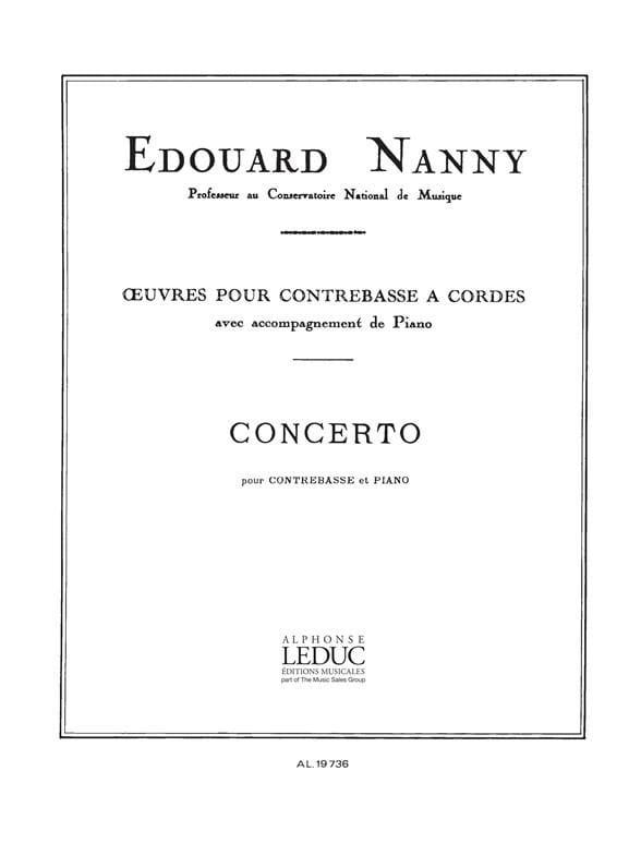 Concerto - Contrebasse - Edouard Nanny - Partition - laflutedepan.com
