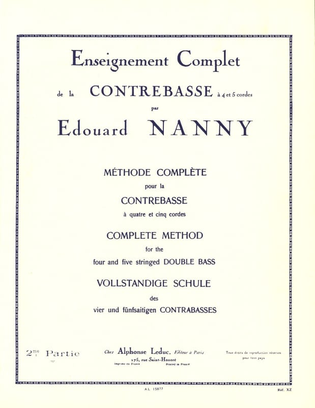 Edouard Nanny - Complete Method of Double Bass Volume 2 - Partition - di-arezzo.co.uk