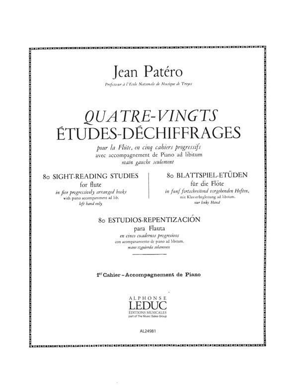 80 Etudes de déchiffrages Flûte - Volume 1 - Accomp. - laflutedepan.com