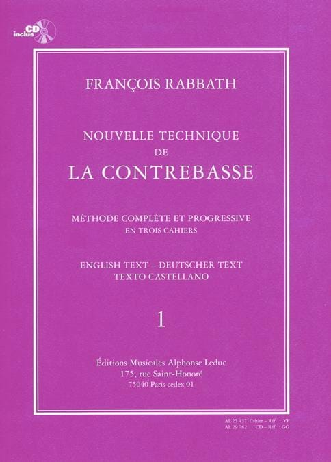 François Rabbath - New bass technique, Volume 1 - Partition - di-arezzo.co.uk