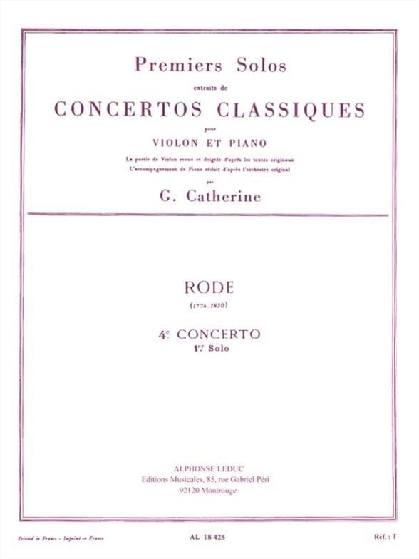 Rode Pierre / Catherine Georges - 1st solo of Concerto n ° 4 - Partition - di-arezzo.co.uk