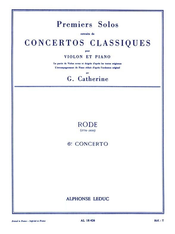 Rode Pierre / Catherine Georges - 1st Solo of the Concerto n ° 6 - Partition - di-arezzo.co.uk