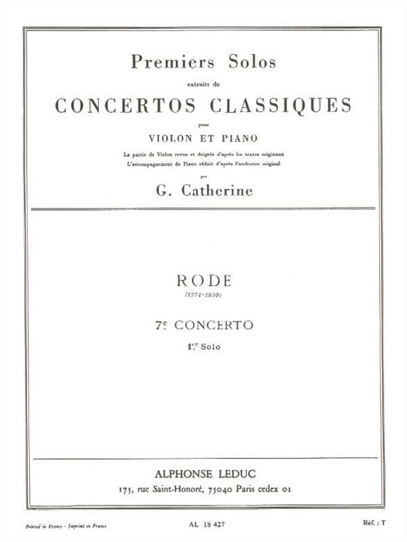 Rode Pierre / Catherine Georges - 1st Solo of the Concerto n ° 7 - Partition - di-arezzo.co.uk