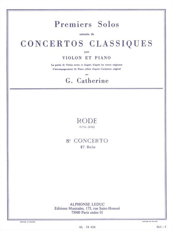 Rode Pierre / Catherine Georges - 1st Solo of the Concerto No. 8 E minor op. 13 - Partition - di-arezzo.co.uk