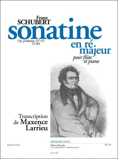 SCHUBERT - Sonatine D major op. posth. 137 n ° 1 D. 384 - Piano flute - Partition - di-arezzo.co.uk