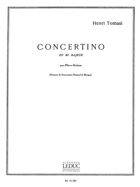 Henri Tomasi - Concertino in E major - Piano Flute - Partition - di-arezzo.co.uk