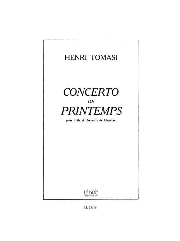 Henri Tomasi - Spring Concerto - Piano Flute - Partition - di-arezzo.co.uk