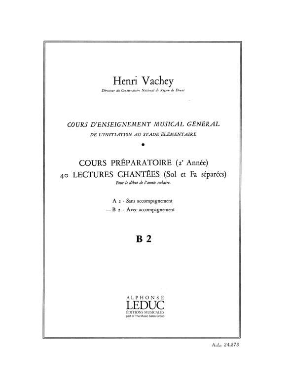 Henri Vachey - 40 Sung readings - B2 2 keys prep. A / A - Partition - di-arezzo.com