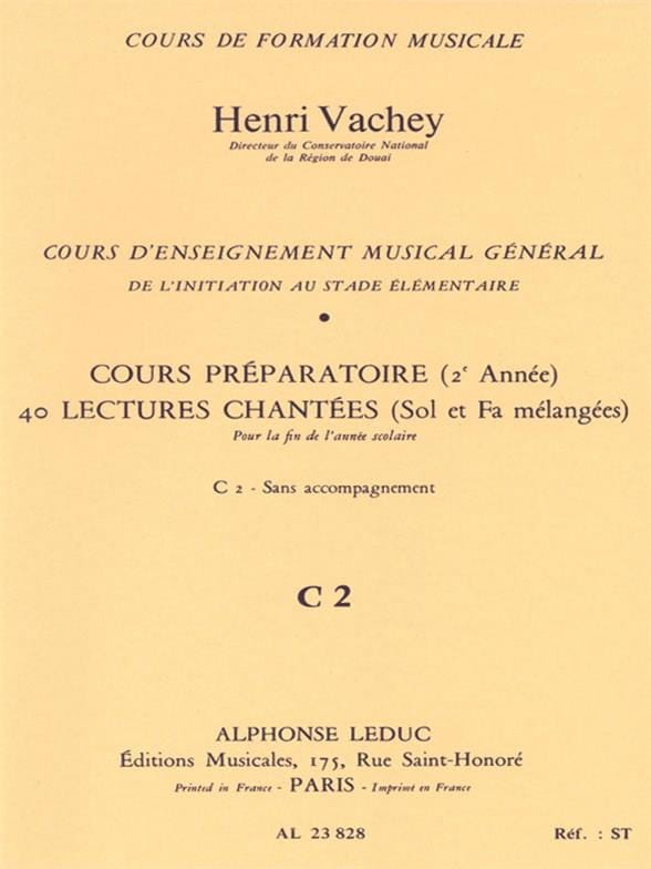 Henri Vachey - 40 Sung readings - C2 2 prep keys. HER - Partition - di-arezzo.com