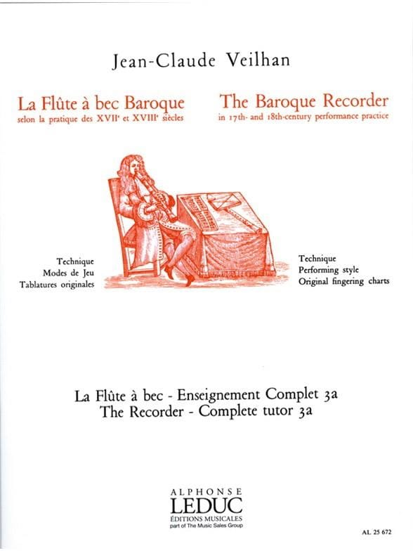 Jean-Claude Veilhan - The baroque recorder - Volume 3A - Partition - di-arezzo.co.uk