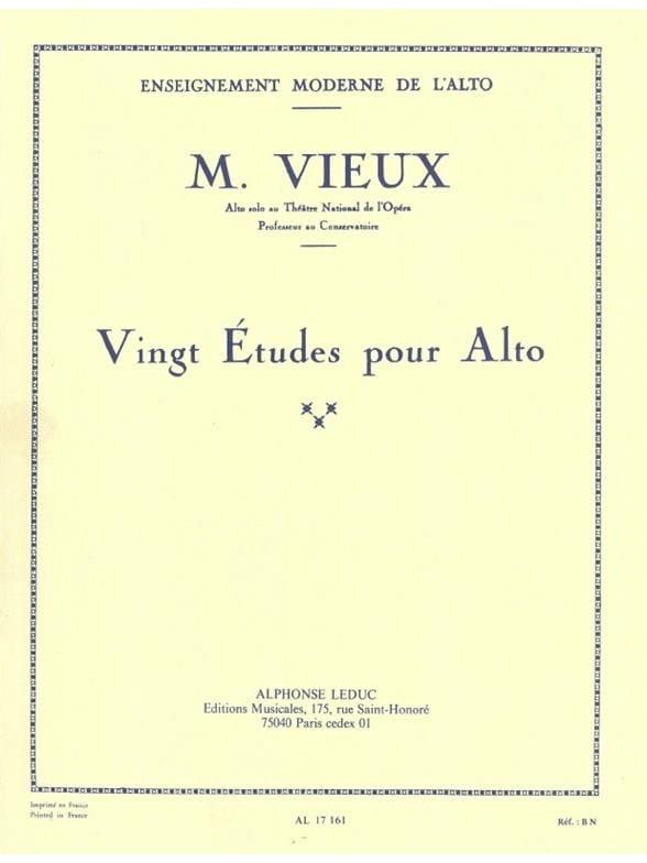 20 études pour alto - Maurice Vieux - Partition - laflutedepan.com
