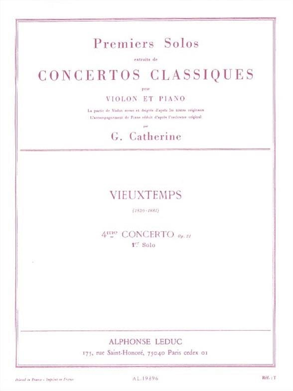 Vieuxtemps Henri / Catherine Georges - 1st Solo of the Concerto n ° 4 op. 31 - Partition - di-arezzo.co.uk