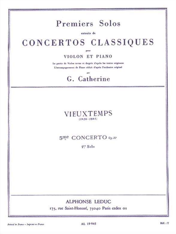 Vieuxtemps Henri / Catherine Georges - 1st Solo of the Concerto n ° 5 op. 37 - Partition - di-arezzo.co.uk