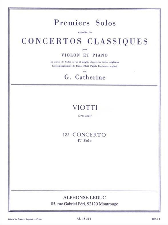 Viotti Giovanni Battista / Catherine Georges - 1st solo of the Concerto n ° 13 - Partition - di-arezzo.co.uk