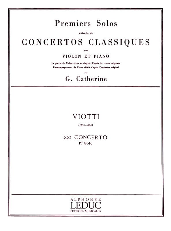 Viotti Giovanni Battista / Catherine Georges - 1st solo of the Concerto n ° 22 - Partition - di-arezzo.com
