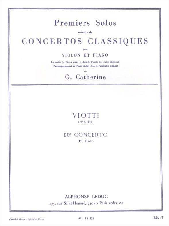 Viotti Giovanni Battista / Catherine Georges - 1st Solo of the Concerto n ° 29 - Partition - di-arezzo.co.uk