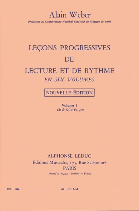Alain Weber - Progressive Lessons of Reading and Rhythm Volume 1 - Partition - di-arezzo.co.uk