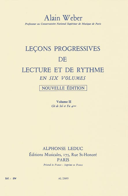 Alain Weber - Progressive Lessons of Reading and Rhythm Volume 2 - Partition - di-arezzo.co.uk